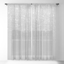 Trendy modern silver ombre grey color block Sheer Curtain