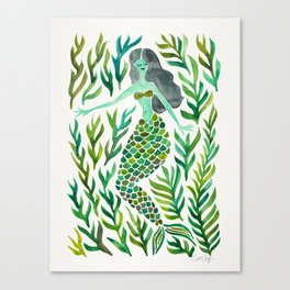 Kelp Forest Mermaid – Green Palette Canvas Print