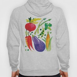 Veg Out - Vegetable, Veggies, Watercolor, Food, Beet, Carrot, Pea Hoody