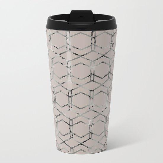 Silver Geometric Art Deco - Gatsby Taupe Metal Travel Mug