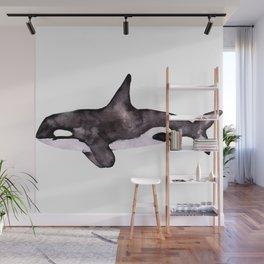 Watercolor Orca Killer Whale Wall Mural