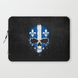 Flag of Quebec on a Chaotic Splatter Skull Laptop Sleeve