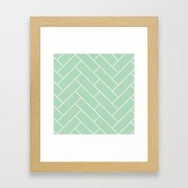 Mint Herring Bone Pattern Framed Art Print