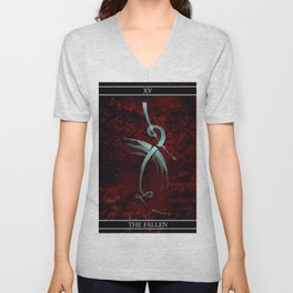 A Tarot of Ink Major Arcana XV The Fallen or The Devil Unisex V-Neck