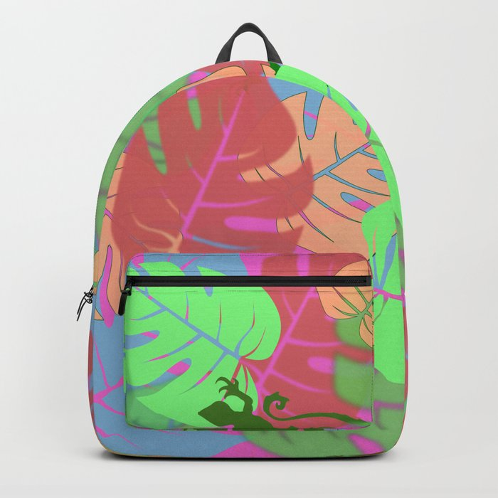 Monstera and Lizards (Retro Pink) Backpack