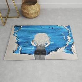 Blue Sky and the Future Painting by Jodi Tomer. Blonde Girl Portrait Rug