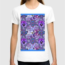 BLUE GEOMETRIC LILAC PURPLE PANSIES GARDEN ART T-shirt