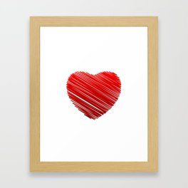 Scribbled red valentine heart- be my valentine Framed Art Print
