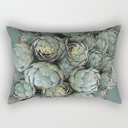 Archie talks (Artichokes) in teal Rectangular Pillow