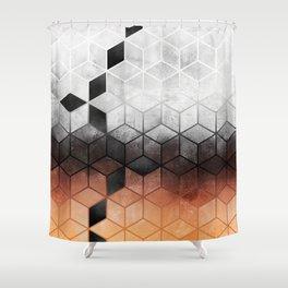 Ombre Concrete Cubes Shower Curtain