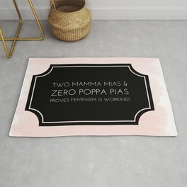 Feminism at Work | Two Mamma Mias ... - Black and Pink Watercolor Quote Rug
