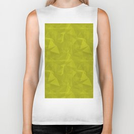 Abstract Polygon Pantone Sulphur Spring Green 13-0650 Geometrical Low Poly Triangle Pattern 1 Biker Tank
