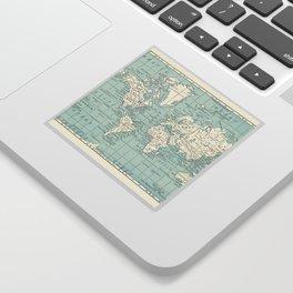 World Map in Blue and Cream Sticker