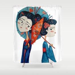 Blue Geishas Shower Curtain