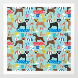 Boxer dog breed beach summer fun dogs boxers pet portrait pattern Art Print