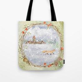 Christmas vintage fox Tote Bag