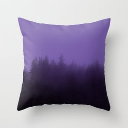 Licorice Forest with Ultra_Violet Fog, Alaska Throw Pillow