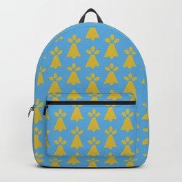 French Country Blue and Gold Ermine Spots Patterned Print Backpack