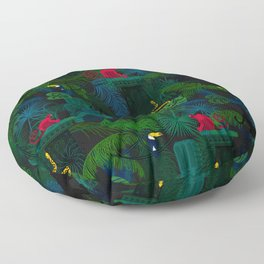 Animals in the jungle on the ruins Floor Pillow
