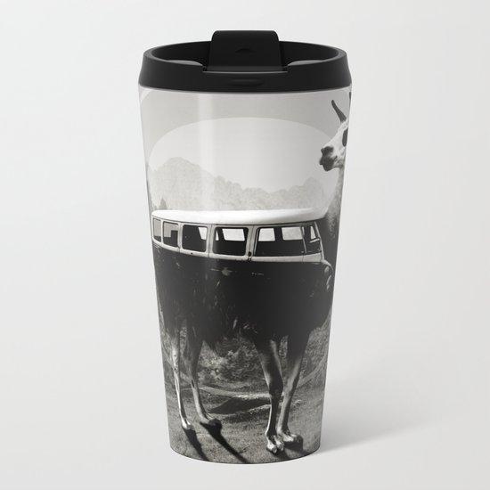 Llama B&W Metal Travel Mug
