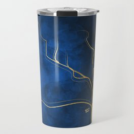 Kintsugi Electric Blue #blue #gold #kintsugi #japan #marble #watercolor #abstract Travel Mug