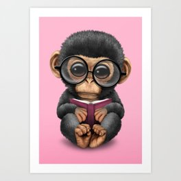 Cute Pink Baby Chimp Reading a Book Art Print