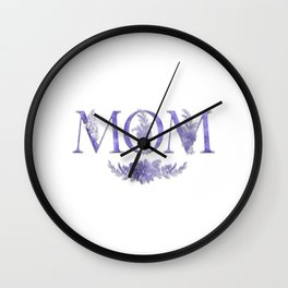 MOM Flower Monogram Purple Wall Clock