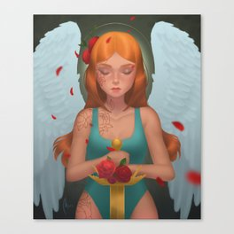 Praying Angel with a Golden Sword and Red Roses Canvas Print