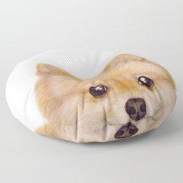 Pomeranian Dog illustration original painting print Floor Pillow