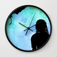 mother of dragons Wall Clocks featuring Mother of Dragons Silhouette over Green + Blue by Jessica Barst