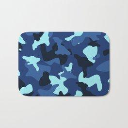 Blue marine army camo camouflage pattern Bath Mat