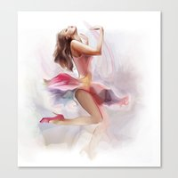 dancing Canvas Prints featuring dancing by tatiana-teni