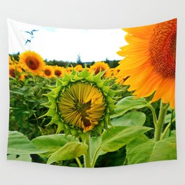 Sunflower Prepares to Unfold Itself Wall Tapestry