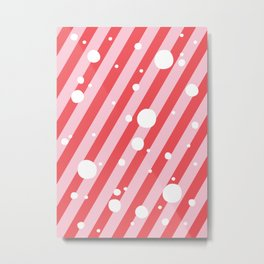 Candy Cane Snow Pink and Red Metal Print