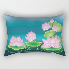 Lotus Flower with Leaves Rectangular Pillow
