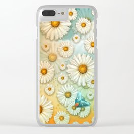 """Turquoise Moth &  Marguerites"" Clear iPhone Case"