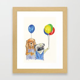Greetings from two friends, King Charles and Pug Framed Art Print