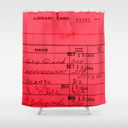 Library Card 23322 Red Shower Curtain