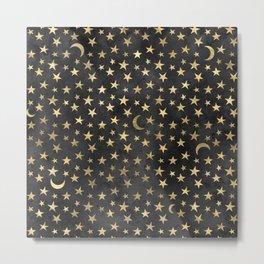 Dark Gold Moon & Stars Metal Print