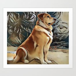 A Golden Retriever Art Print