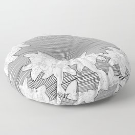 line art flowers on stripes Floor Pillow
