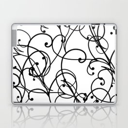 black thin pattern on white underground Laptop & iPad Skin