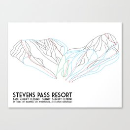 Stevens Pass, WA - Minimalist Trail Map Canvas Print