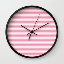 Pink and White Horizontal Stripes Wall Clock