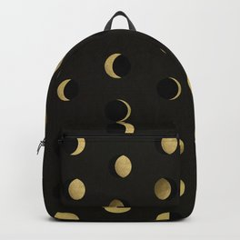 The Lunar Cycle • Phases of the Moon – Black & Gold Palette Backpack