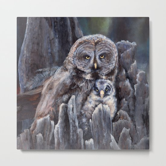Wood  -  Owls Metal Print