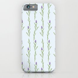 Modern artistic pastel blue lavender watercolor floral pattern iPhone Case