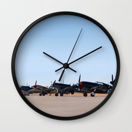 WW2 Warbirds Line-up, Sonoma County Airport, California Wall Clock