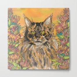 Honeysuckle Cat (Maine Coon Cat) Metal Print