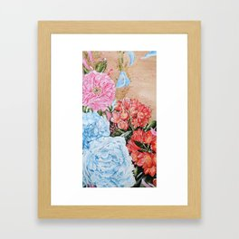 POISE AND PRIDE- Peony And Bush Lily - Original fine art floral painting by HSIN LIN / HSIN LIN ART Framed Art Print